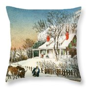 Bringing Home The Logs Throw Pillow by Currier and Ives