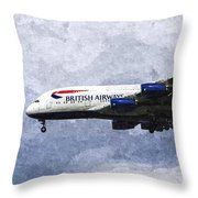 British Airways Airbus A380 Art Throw Pillow