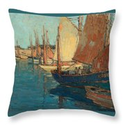Brittany Boats Throw Pillow