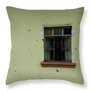 Broken Glass In A Window Throw Pillow