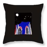 Brooklyn Bridge Blue Throw Pillow