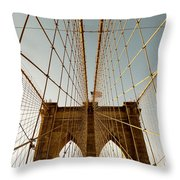 Brooklyn Bridge Wires Throw Pillow