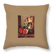 bs- George Henry Hall- Still Life George Henry Hall Throw Pillow