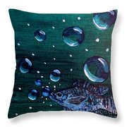 Bubble Fish Underwater Throw Pillow