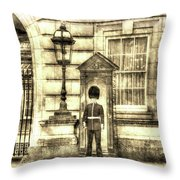 Buckingham Palace Queens Guard Vintage Throw Pillow