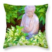 Buddha In The Garden Throw Pillow