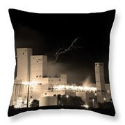 Budwesier Brewery Lightning Thunderstorm Image 3918  Bw Sepia Im Throw Pillow