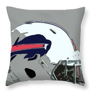 Buffalo Bills Football Team Ball And Typography Throw Pillow