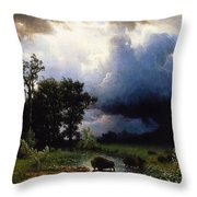 Buffalo Trail  The Impending Storm Throw Pillow