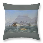 Bulldog Shelling The Forts Throw Pillow