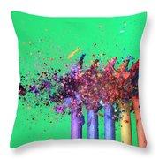 Bullet Hitting Crayons Throw Pillow