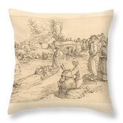 Burial In The Vendeen Marsh (un Enterrement Dans Le Marais Vendeen) Throw Pillow