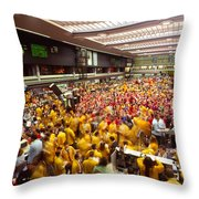 Business Executives On Trading Floor Throw Pillow