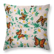 Butterflies And Daisies - 1 Throw Pillow