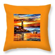 By The Lighthouse Throw Pillow