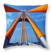 Cable Stayed Bridge With Orange Clad Cables Throw Pillow