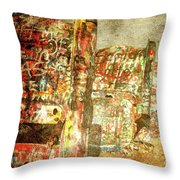 Cadillac Ranch On Route 66 Throw Pillow