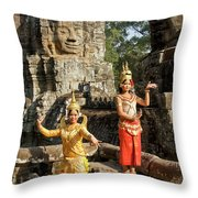Cambodian Dancers At Angkor Thom Throw Pillow