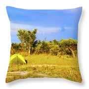Camp Ground Near Kasane In Botswana Throw Pillow