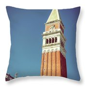 Campanile In Venice Throw Pillow