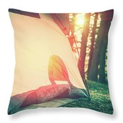 Camping In The Forest Throw Pillow