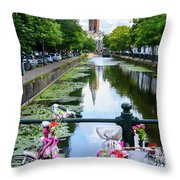 Canal And Decorated Bike In The Hague Throw Pillow
