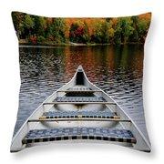 Canoe On A Lake Throw Pillow