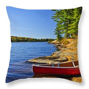 Canoe On Shore Throw Pillow