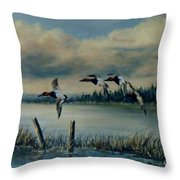 Canvasbacks Over Lake Earl Throw Pillow