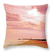 Cape May New Jersey, Sunset With Lighthouse In The Distance Throw Pillow