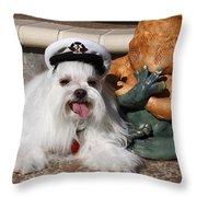 Captain Maltese Dog  Throw Pillow