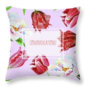 Card With Tulips And Peonies Throw Pillow