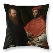 Cardinal Ippolito De Medici And Monsignor Mario Bracci Throw Pillow