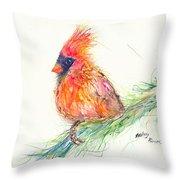 Cardinal On Branch Throw Pillow