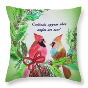 Cardinals Painted By Laurel Adams Throw Pillow