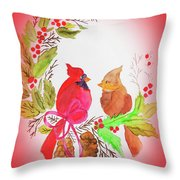 Cardinals Painted By Linda Sue Throw Pillow