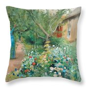 Carl Larsson, Garden Scene From Marstrand On The West Coast Of Sweden. Throw Pillow