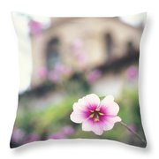 Carmel Mission With Flowers Throw Pillow