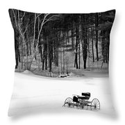 Carriage In A Field Of Snow Throw Pillow
