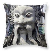 Carved Monk Statue Throw Pillow