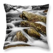 Cascading Water And Rocky Mountain Rocks Throw Pillow