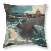 Casting In The Falls Throw Pillow