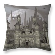 Castle By Night - 3d Render Throw Pillow