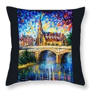 Castle By The River - Palette Knife Oil Painting On Canvas By Leonid Afremov Throw Pillow