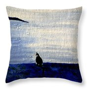 Cat By The Seaside Throw Pillow
