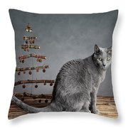 Cat Christmas Throw Pillow