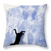 Cat Jumping From A Wall Throw Pillow