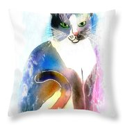 Cat Of Many Colors Throw Pillow
