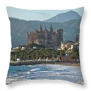 Cathedral And City Beach With People  Throw Pillow