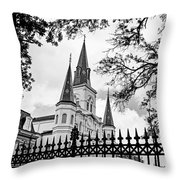 Cathedral Basilica - Square Bw Throw Pillow